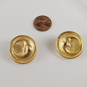 Vintage Gold Button Man in The Moon Earrings